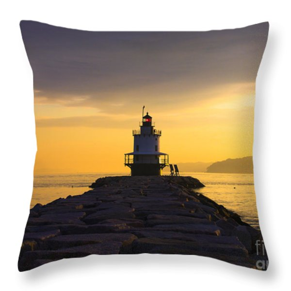 Sunrise At Spring Point Lighthouse Throw Pillow by Diane Diederich