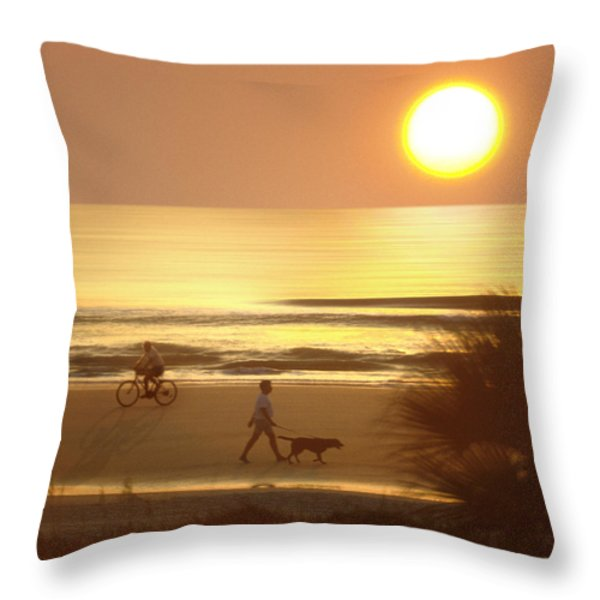 Sunrise at Topsail Island 2 Throw Pillow by Mike McGlothlen