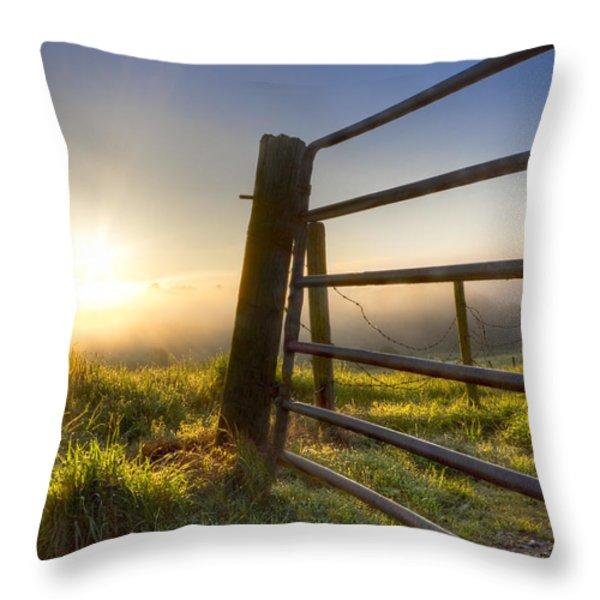 Sunrise  Gate Throw Pillow by Debra and Dave Vanderlaan