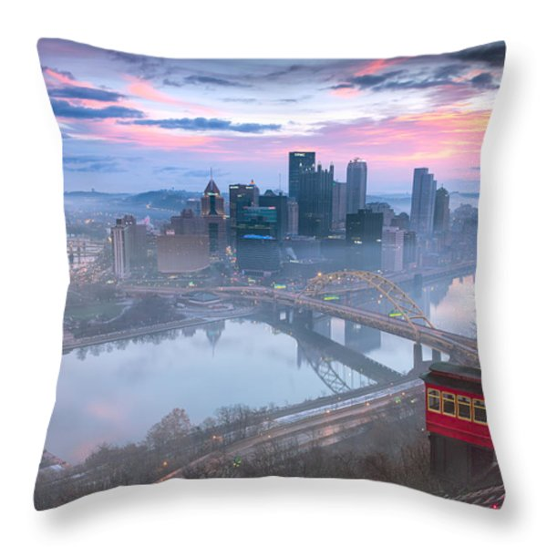 Sunrise In Pittsburgh Pa  Throw Pillow by Emmanuel Panagiotakis