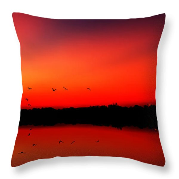 sunrise on a loch Throw Pillow by John Farnan