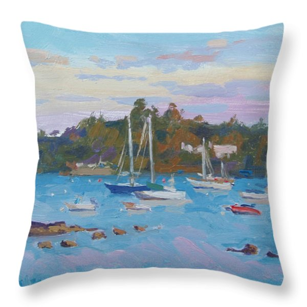 Sunrise On Inner Harbor Throw Pillow by Dianne Panarelli Miller