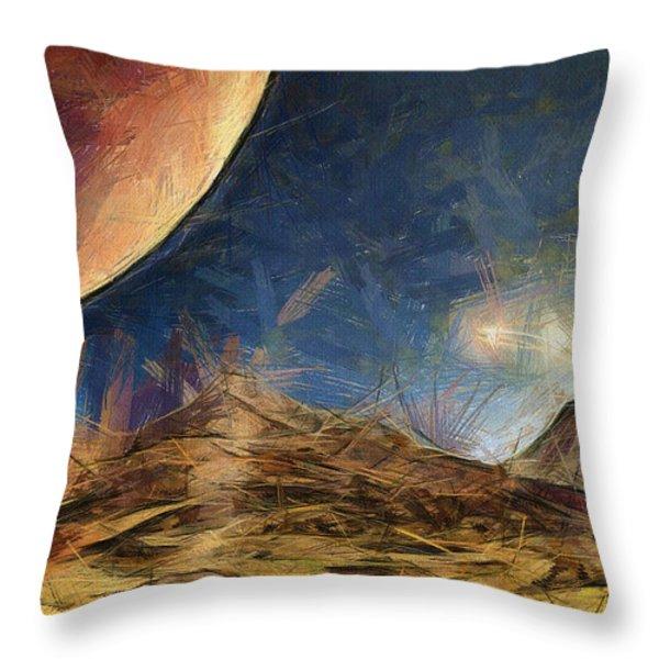 Sunrise on Space Throw Pillow by Ayse Deniz