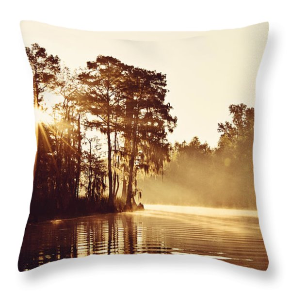 Sunrise On The Bayou Throw Pillow by Scott Pellegrin