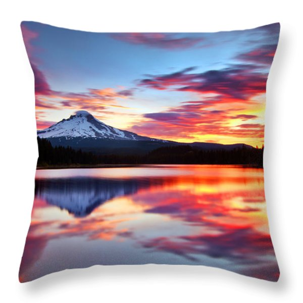 Sunrise on the Lake Throw Pillow by Darren  White