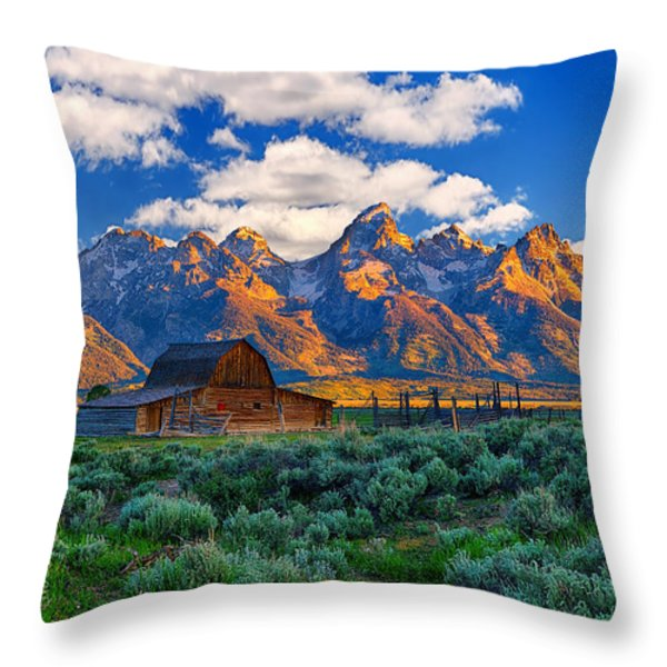 Sunrise on the Tetons Limited Edition Throw Pillow by Greg Norrell