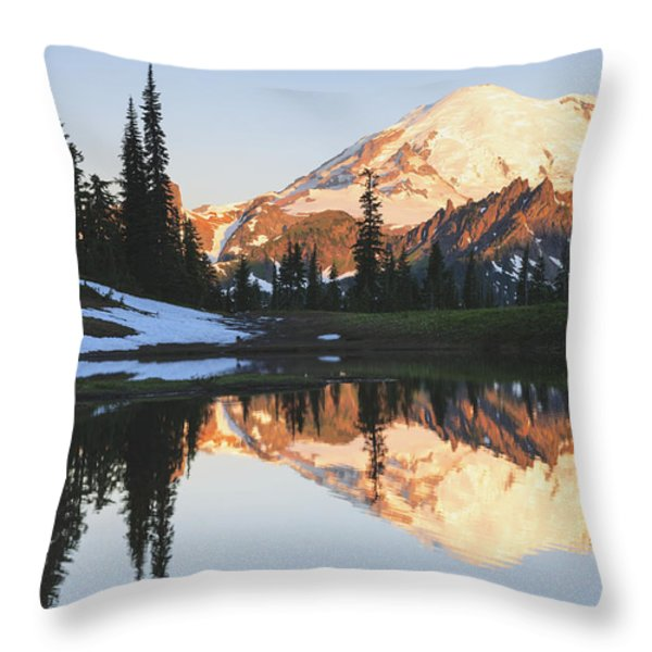 Sunrise Over A Small Reflecting Pond Throw Pillow by Stuart Westmorland