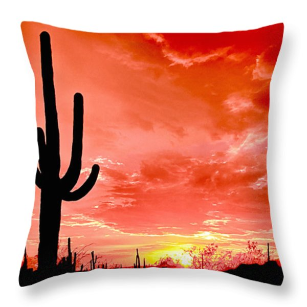 Sunrise Saguaro National Park Throw Pillow by Bob and Nadine Johnston