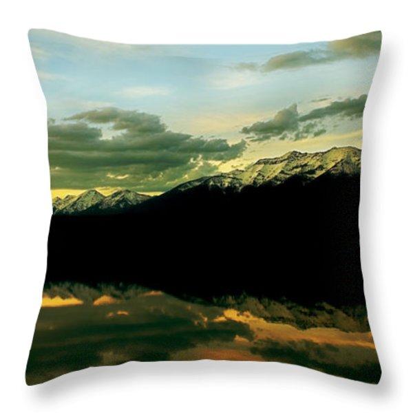 Sunset 1 Rainy Lake Throw Pillow by Janie Johnson