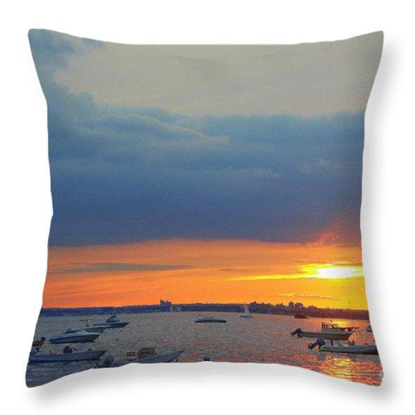 Sunset And Blue Clouds Throw Pillow by Dora Sofia Caputo Photographic Art and Design