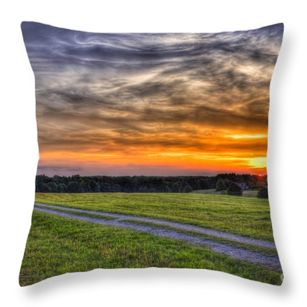 Sunset and The Road Home Throw Pillow by Reid Callaway