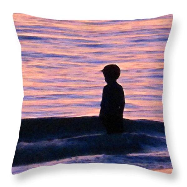 Sunset Art - Contemplation Throw Pillow by Sharon Cummings