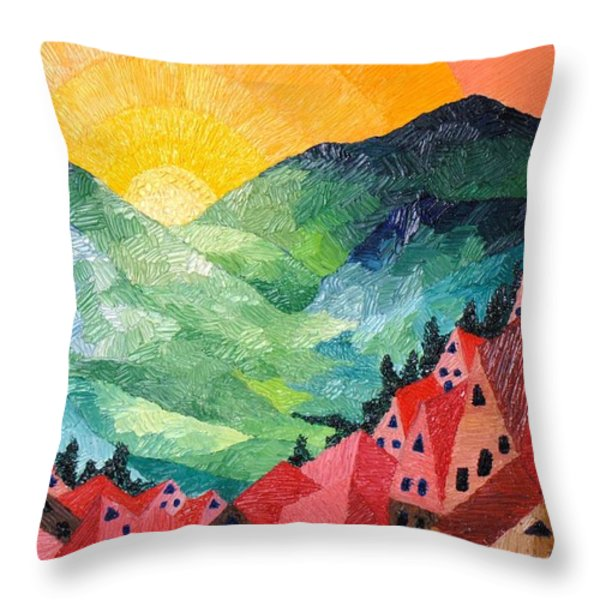 Sunset   Art Deco Throw Pillow by Gunter  Hortz