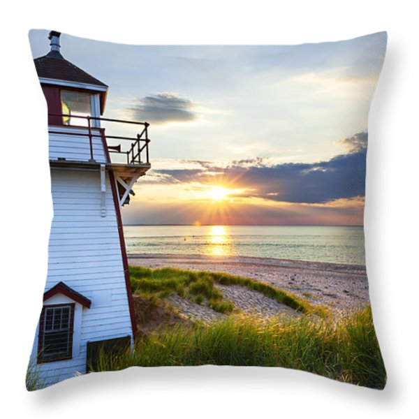 Sunset at Covehead Harbour Lighthouse Throw Pillow by Elena Elisseeva