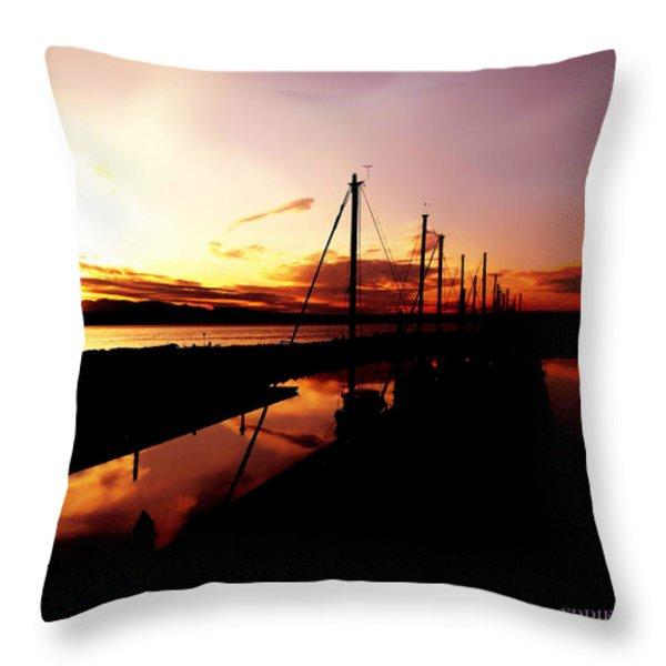 Sunset At Edmonds Washington Boat Marina 2 Throw Pillow by Eddie Eastwood
