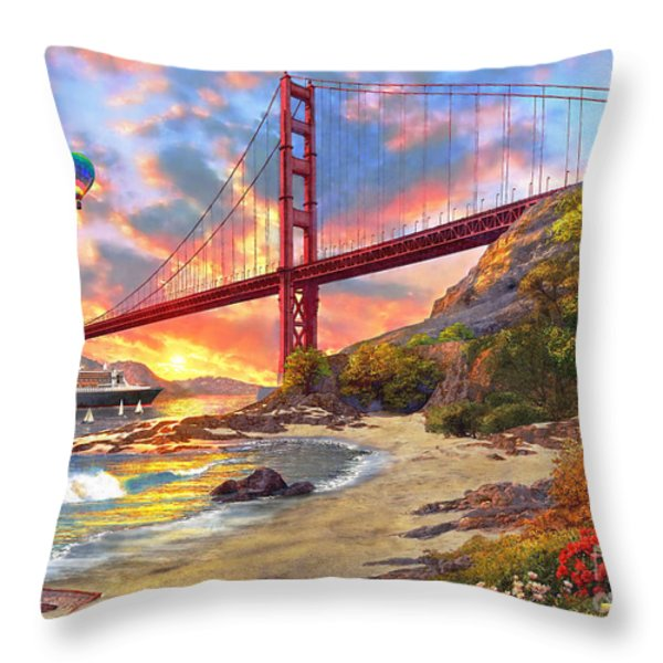 Sunset At Golden Gate Throw Pillow by Dominic Davison