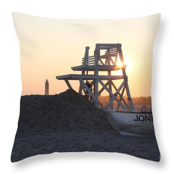 Sunset At Jones Beach Throw Pillow by John Telfer