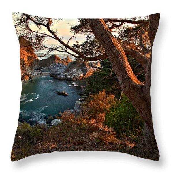 Sunset At McWay Falls Throw Pillow by Adam Jewell
