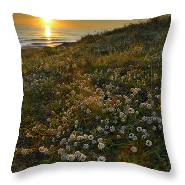 Sunset At The Beach  White Flowers On The Sand Throw Pillow by Guido Montanes Castillo