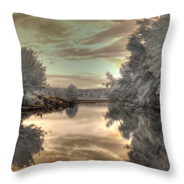 Sunset At The Boathouse Throw Pillow by Jane Linders