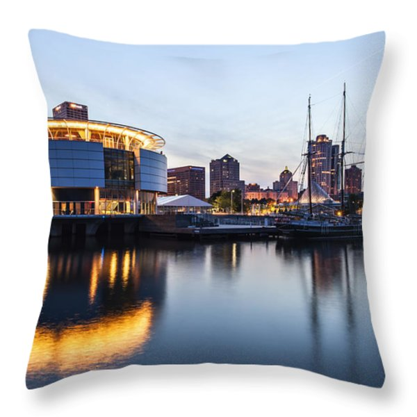 Sunset at the Dock Throw Pillow by CJ Schmit