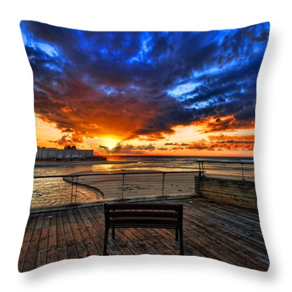 sunset at the port of Tel Aviv Throw Pillow by Ron Shoshani