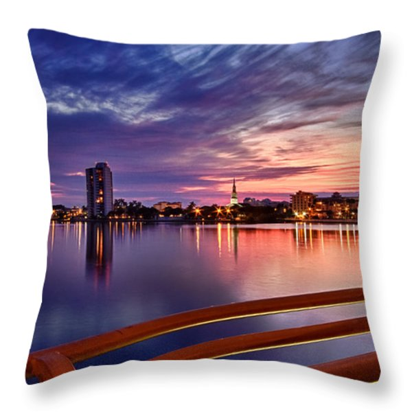 Sunset Balcony of the West Palm Beach Skyline Throw Pillow by Debra and Dave Vanderlaan