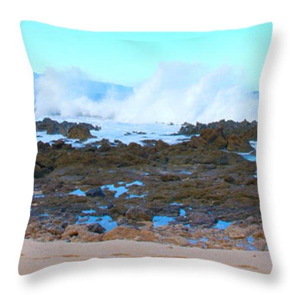 Sunset Beach Crashing Wave - Oahu Hawaii Throw Pillow by Brian Harig