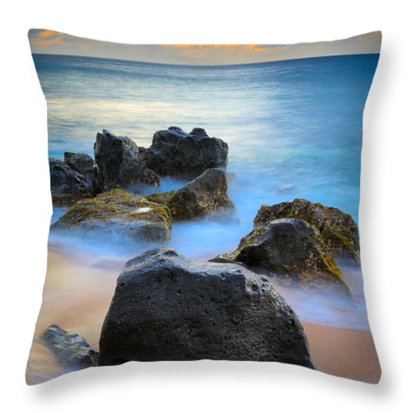 Sunset Beach Rocks Throw Pillow by Inge Johnsson