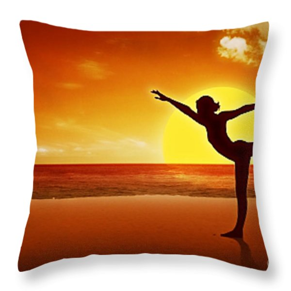 Sunset Beach Yoga Throw Pillow by M and L Creations