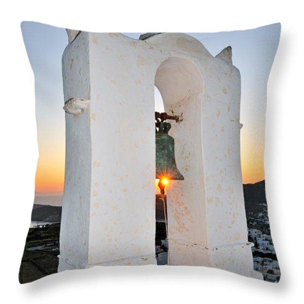 Sunset Behind A Belfry Throw Pillow by George Atsametakis