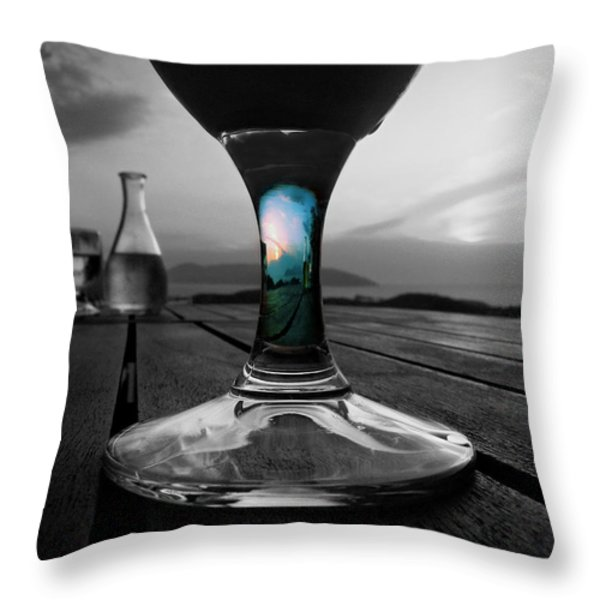 Sunset Cafe Throw Pillow by Micki Findlay