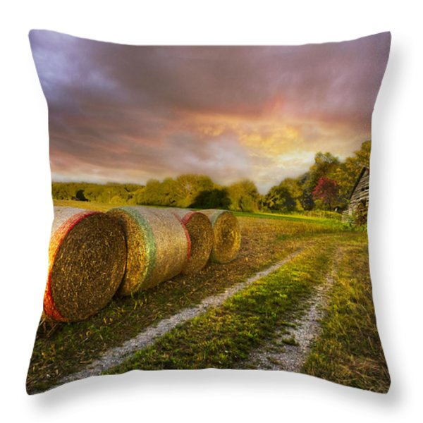 Sunset Farm Throw Pillow by Debra and Dave Vanderlaan