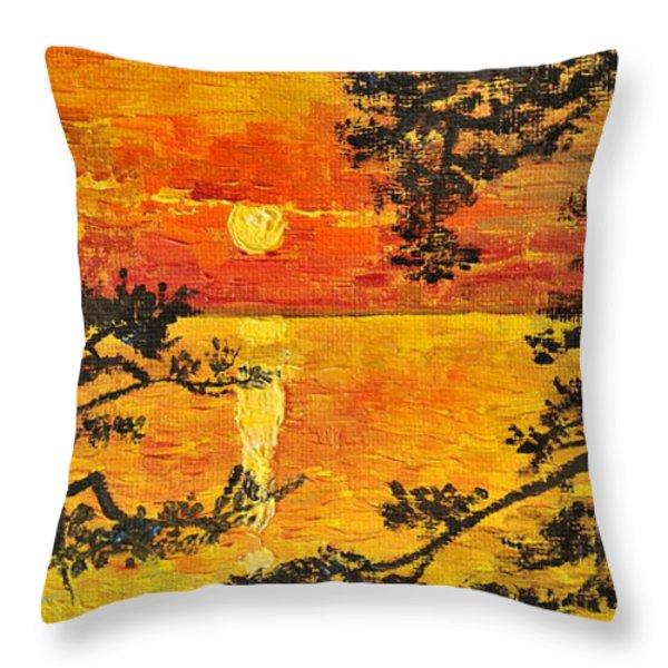 Sunset For My Parents Throw Pillow by Teresa Wegrzyn