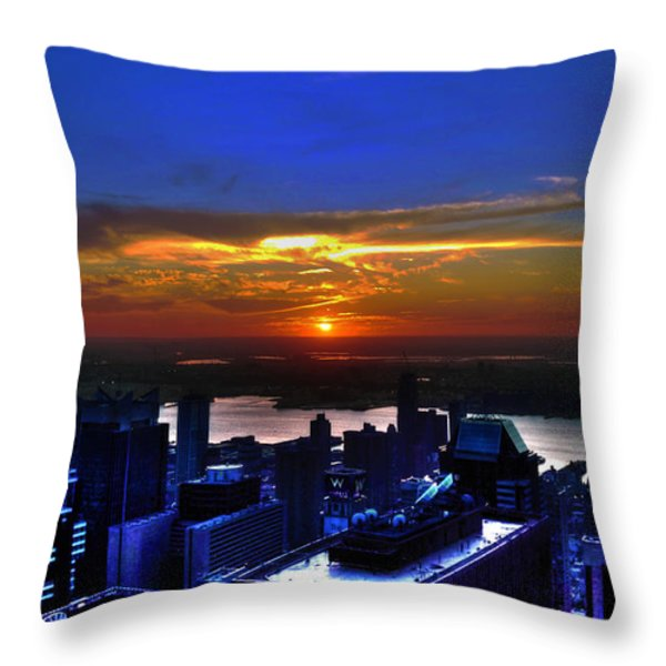Sunset From The Empire State Building Throw Pillow by Randy Aveille