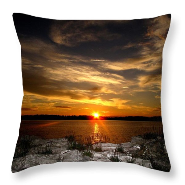 Sunset In Maine Throw Pillow by Donnie Freeman