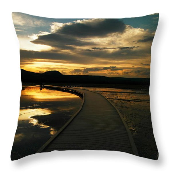 Sunset In Yellow Stone Throw Pillow by Jeff Swan