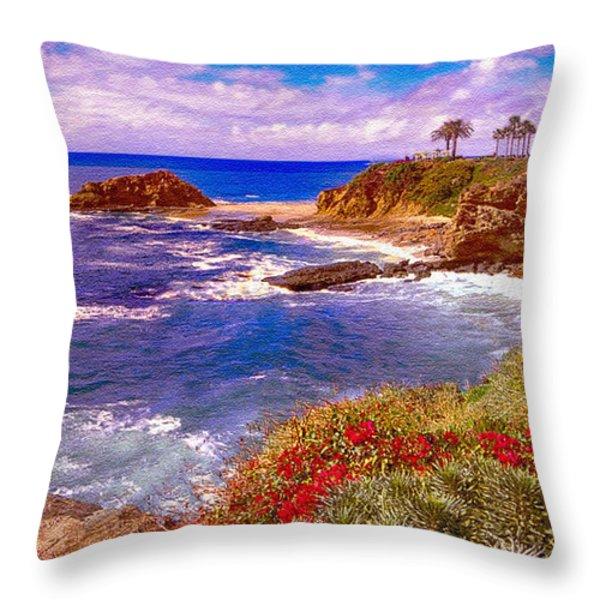 Sunset Laguna Beach California Throw Pillow by  Bob and Nadine Johnston