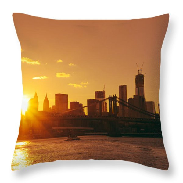 Sunset - New York City Throw Pillow by Vivienne Gucwa
