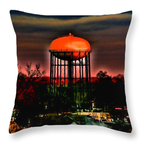 Sunset On A Charlotte Water Tower By Diana Sainz Throw Pillow by Diana Sainz