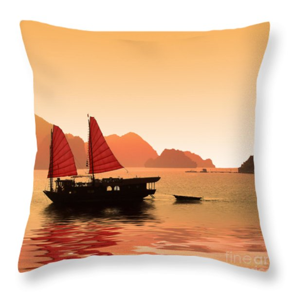 Sunset On Halong Bay Throw Pillow by Delphimages Photo Creations