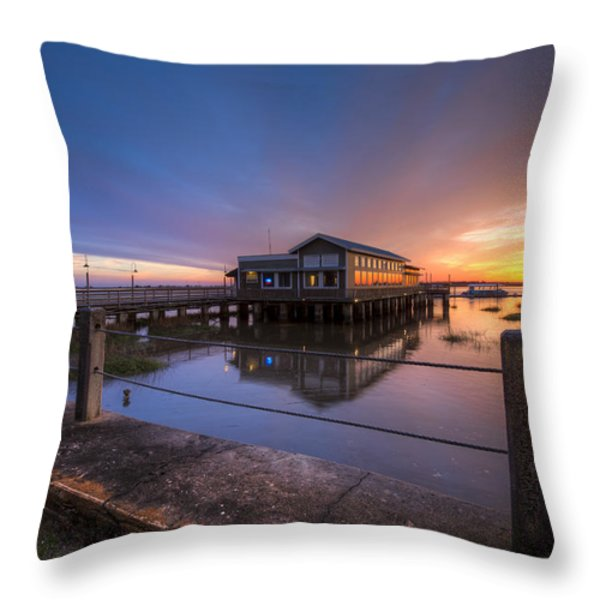 Sunset On Jekyll Island Throw Pillow by Debra and Dave Vanderlaan