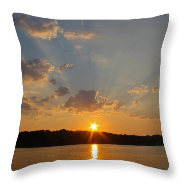 Sunset On The Bay Throw Pillow by Justin Connor
