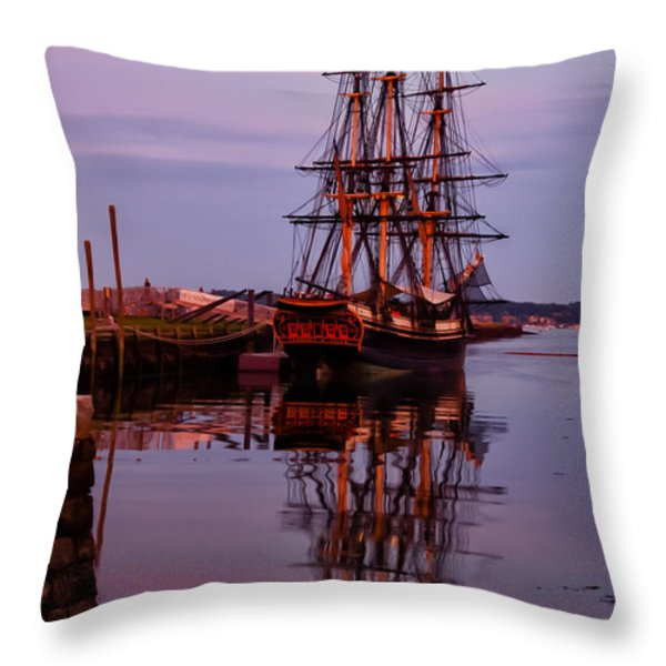 Sunset On The Friendship Of Salem Throw Pillow by Jeff Folger