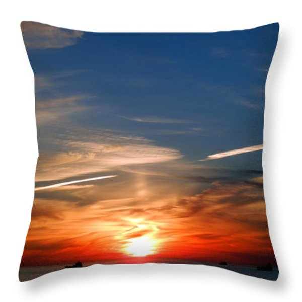 Sunset On The Gulf Of Mexico Throw Pillow by Debra Martz