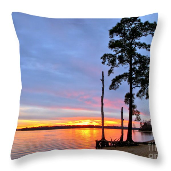 Sunset On The James River Throw Pillow by Olivier Le Queinec