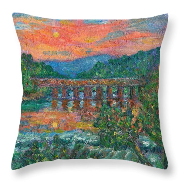 Sunset On The New River Throw Pillow by Kendall Kessler