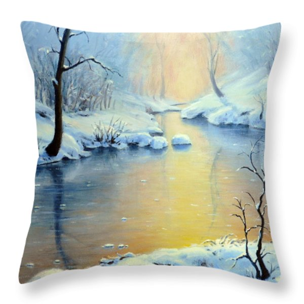 Sunset On The Sunrise River Throw Pillow by Rick Hansen