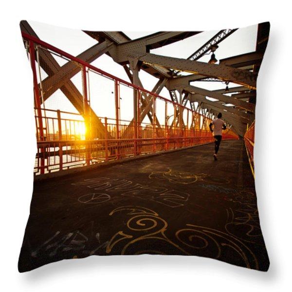 Sunset On The Williamsburg Bridge - New York City Throw Pillow by Vivienne Gucwa
