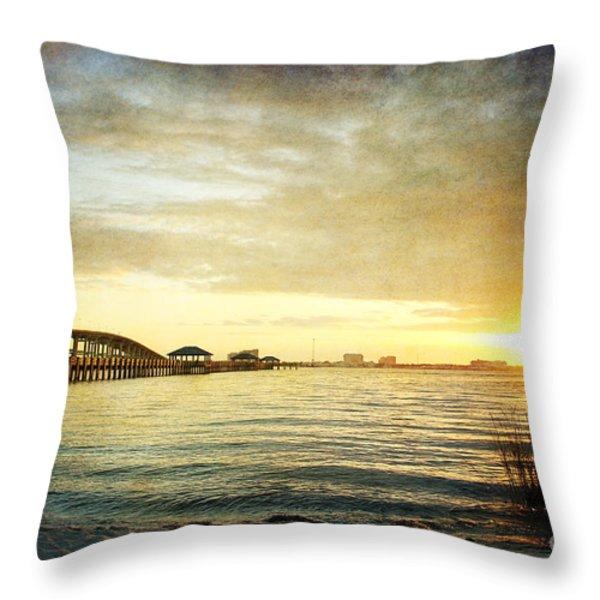 Sunset Over Biloxi Bay Throw Pillow by Joan McCool
